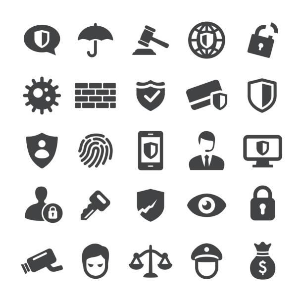 datenschutz und internet-security-symbole - smart-serie - wachpersonal stock-grafiken, -clipart, -cartoons und -symbole