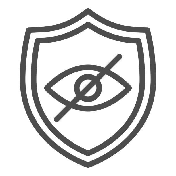 stockillustraties, clipart, cartoons en iconen met pictogram privacy browser embleem lijn. veilig, bescherming, website symbool met gekruist oog. world wide web vector design concept, outline style pictogram op witte achtergrond, gebruik voor web en app. eps 10. - breed