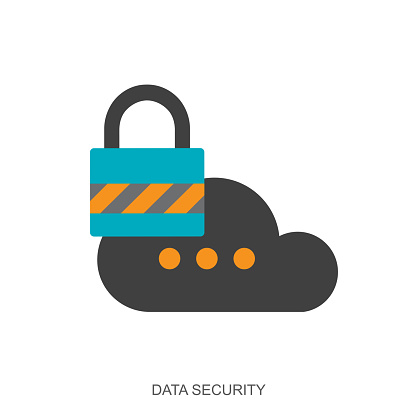 Privacy concept. Data security icon. Cloud with lock