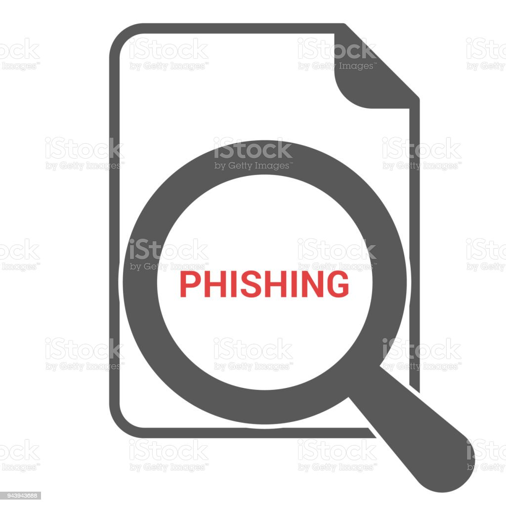 Privacy Concept: Magnifying Optical Glass With Words Phishing vector art illustration