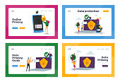 Privacy Data Protection in Internet, Virtual Private Network Landing Page Template Set. Tiny Characters around Huge Laptop with Shield and Lock on Screen, Security. Cartoon People Vector Illustration