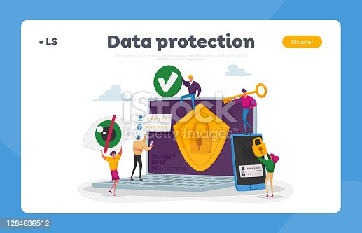istock Privacy Data Protection, Internet Virtual Private Network Landing Page Template. Tiny Characters around of Huge Laptop 1284636512