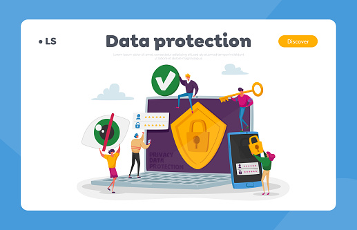 Privacy Data Protection, Internet Virtual Private Network Landing Page Template. Tiny Characters around of Huge Laptop