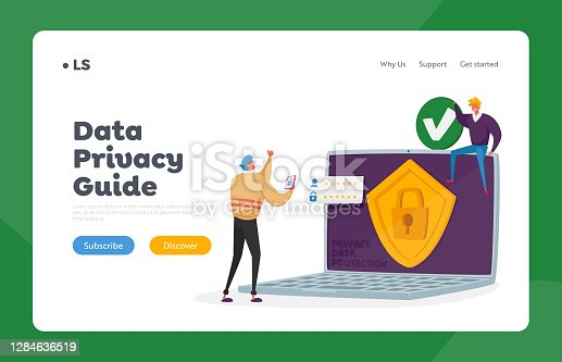 Privacy Data Protection Landing Page Template. Verification, Secure Account Access, Website, Data Security or Privacy in Internet. Tiny Characters at Huge Laptop. Cartoon People Vector Illustration