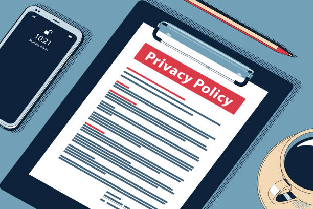 Privacy Policy - Beauteous Vector Halftone Isometric Illustration. Privacy Policy Concept with Clipboard, Modern Smartphone, Ball Pen and Glasses. Flat Lay, Top View. Vector Halftone Isometric Illustration. confidential stock illustrations