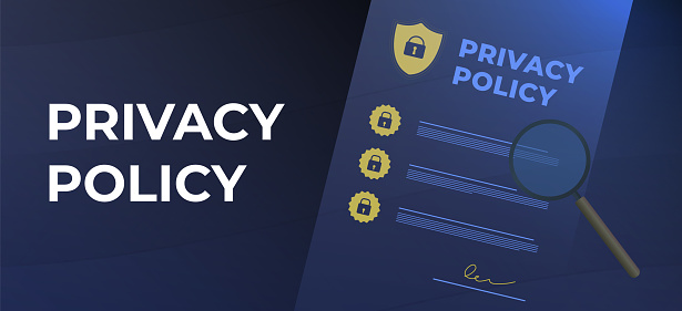 Privacy Policy concept. Contract with protection information, shield and magnifier icons. Cyber Security Data Access - Business Technology Concept. Header or footer vector banner template