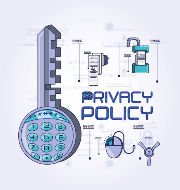 datenschutz politik digitale sicherheit - lesestrategien stock-grafiken, -clipart, -cartoons und -symbole