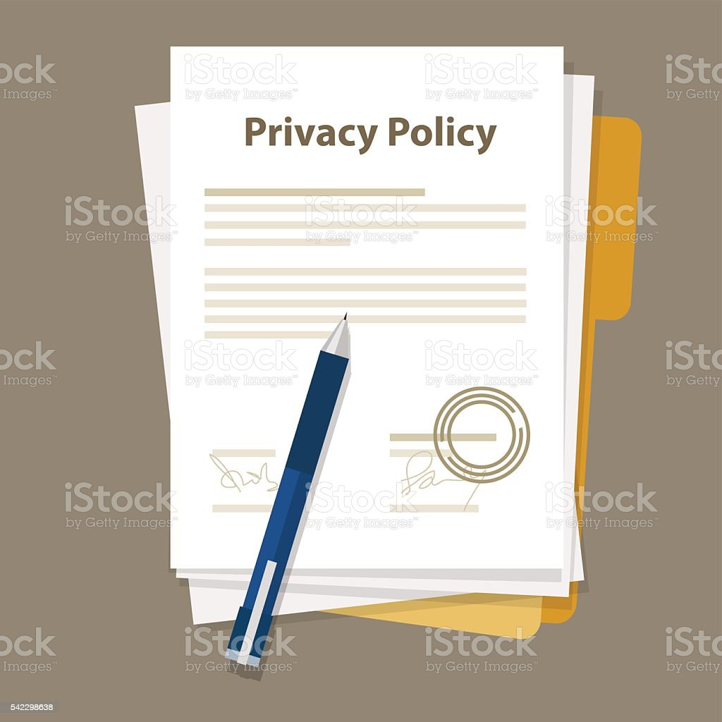 privacy policy document paper legal aggreement signed stamp vector art illustration