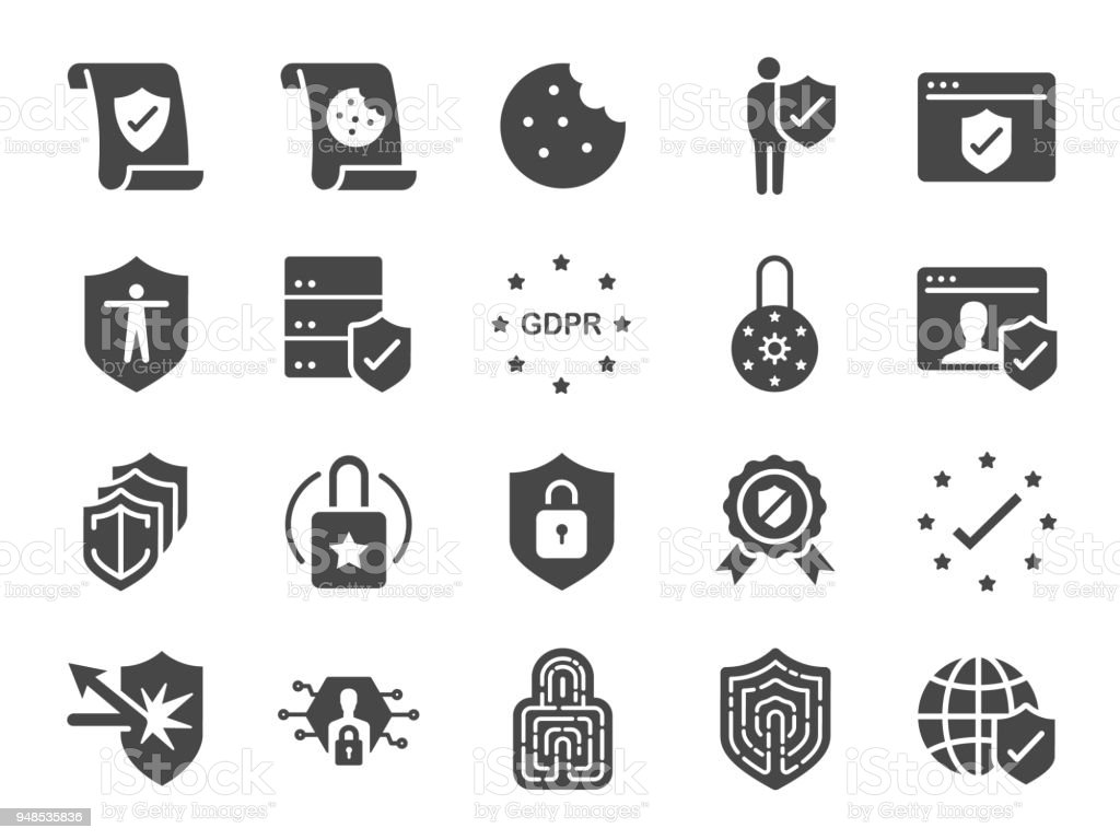 Privacy policy icon set. Included the icons as security information, GDPR, data protection, shield, cookies policy, compliant, personal data, padlock and more royalty-free privacy policy icon set included the icons as security information gdpr data protection shield cookies policy compliant personal data padlock and more stock illustration - download image now