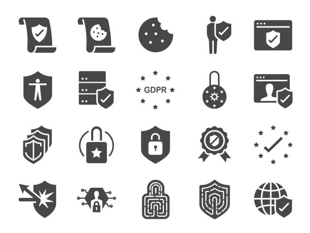 ilustrações de stock, clip art, desenhos animados e ícones de privacy policy icon set. included the icons as security information, gdpr, data protection, shield, cookies policy, compliant, personal data, padlock and more - seguros
