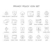 Privacy policy icon set. Line icon vector