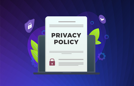 Privacy Policy modern vector illustration. Security Data Access - contract with protection information, shield icon on laptop. Cyber Security Business Technology Concept with violet background.