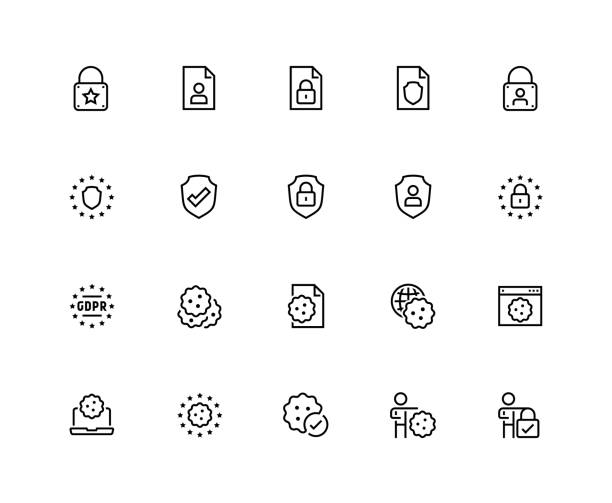 ilustrações de stock, clip art, desenhos animados e ícones de gdpr privacy policy vector icon set in thin line style. 48x48 pixel perfect - bolacha