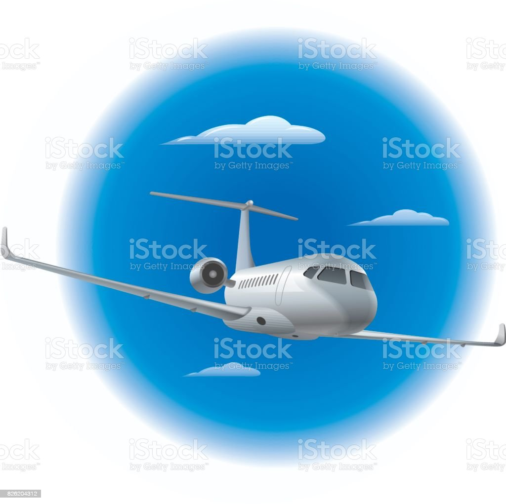 private air jet vector art illustration