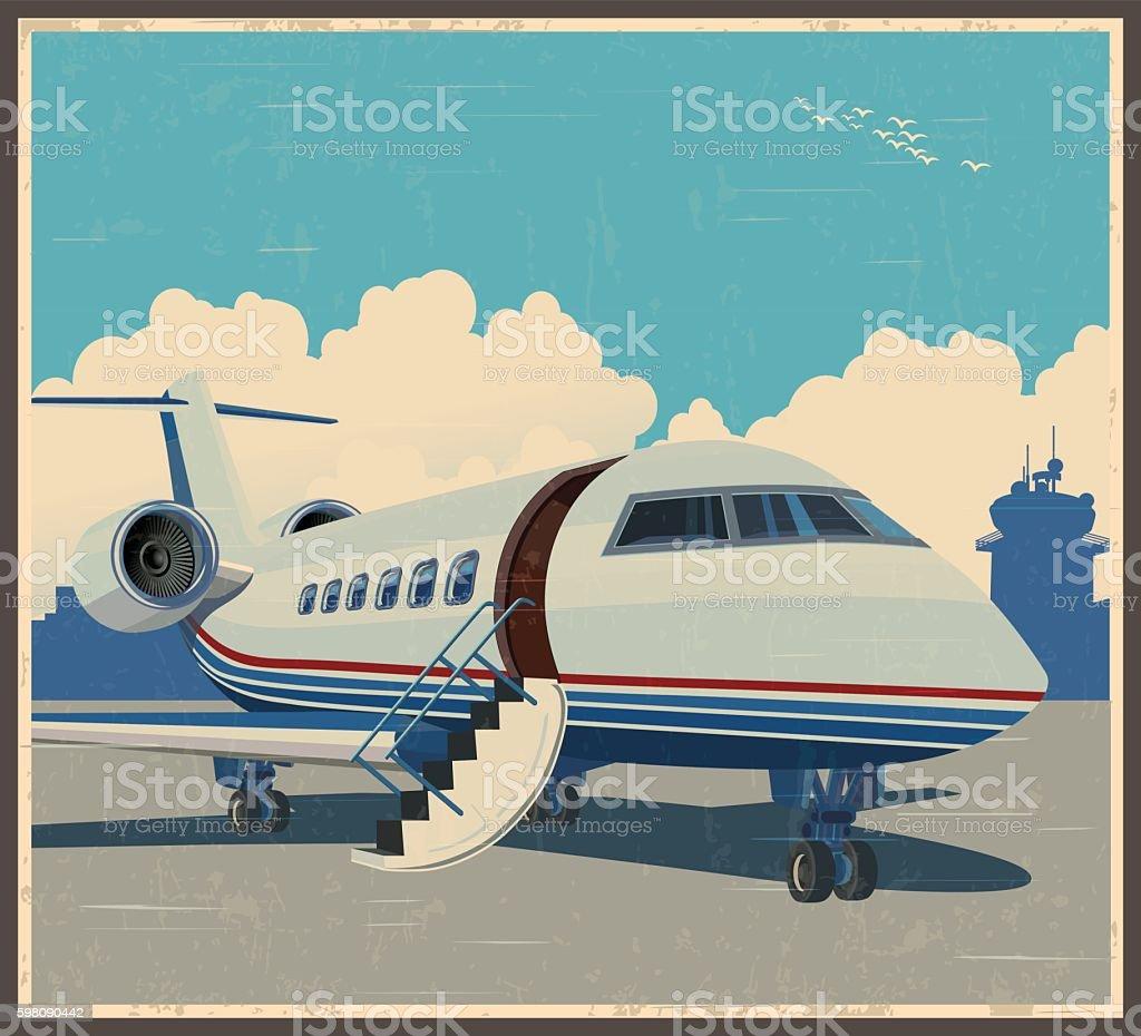 private aviation retro poster - ilustración de arte vectorial