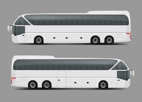 Private charter tour or coach bus realistic vector