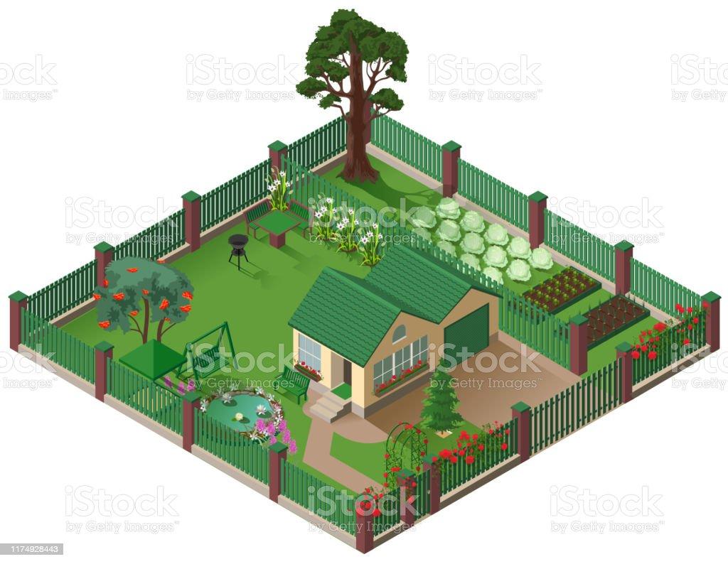 Jardin À L Américaine chalet privé de maison de campagne et jardin illustration