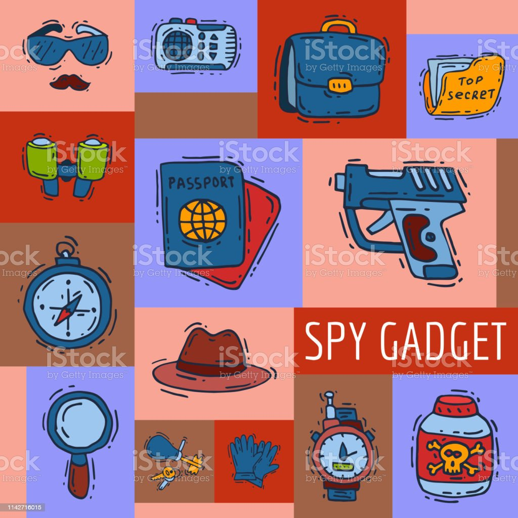Private detective spy work gadgets revolver magnifier forensic...