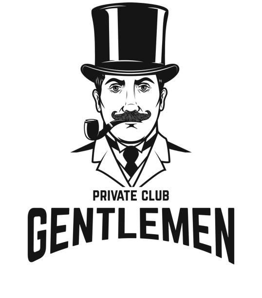 875760945c6 Private gentlemen club. Gentleman in retro hat and with smoking pipe.  vector art illustration