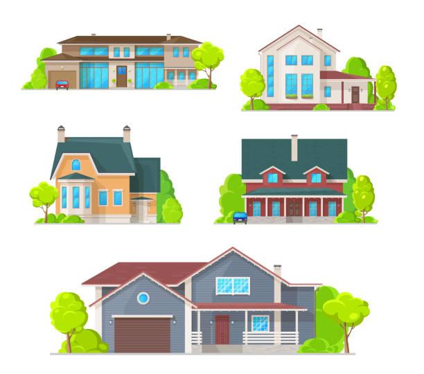 privathäuser, villen und cottage-ikonen - ziegelwände stock-grafiken, -clipart, -cartoons und -symbole