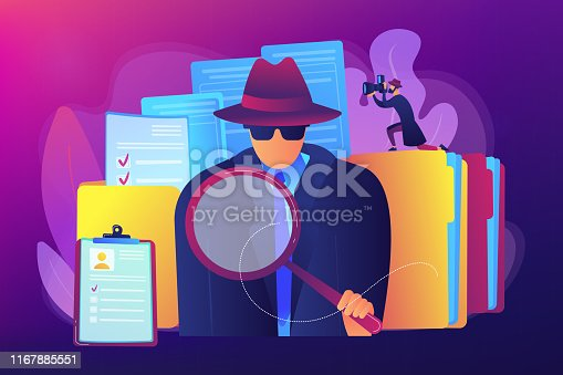 Secret agent searching clues and spying investigating case. Private investigation, private detective agency, private investigator services concept. Bright vibrant violet vector isolated illustration