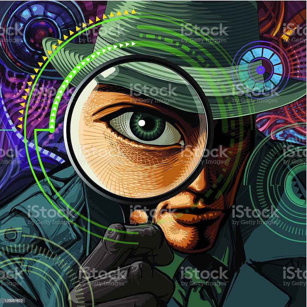 Private Investigator With Magnifier stock vector art 120037670 | iStock