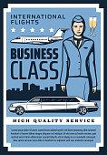Business class international flights premium quality service vintage retro poster. Vector private jet and business airplane, premium limousine car, civil aviation school pilot and flight attendant