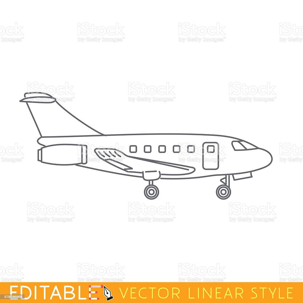 Private jet charter. Business aircraft. Editable vector icon in linear vector art illustration