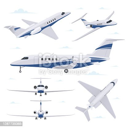 istock Private jet in different point of view. Airplane in top, side, front and back view 1287735365