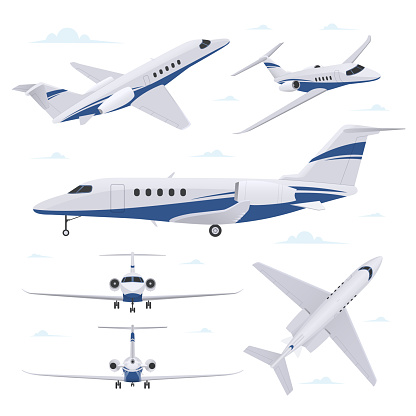 Set of airplane illustration isolated on white background