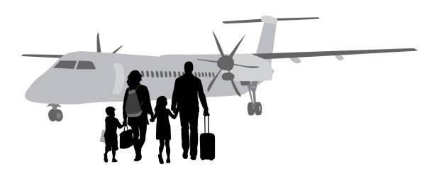 ilustraciones, imágenes clip art, dibujos animados e iconos de stock de millonarios de jet privado - viajes familiares