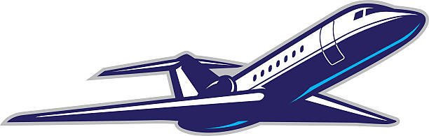 Private Jet Stylized powerful illustration of a private jet plane. All colors are separated in layers. Easy to edit. Black and white version (EPS10,JPEG) included. private airplane stock illustrations