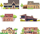 Private residential cottage houses icons. Colored flat vector illustration