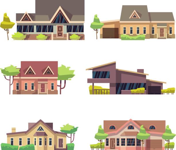 privates wohn-ferienhaus beherbergt symbole. farbige flache vektor-illustration - villas stock-grafiken, -clipart, -cartoons und -symbole