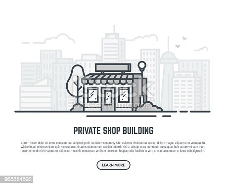 Online store building. Store building near park with trees and big city skyscrapers on background. Flat vector linear illustration. Tree and bushes with street lamp. Trendy line style vector.