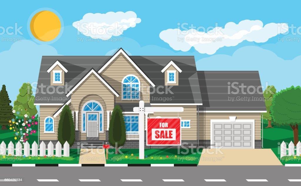 Private suburban house. Real estate vector art illustration