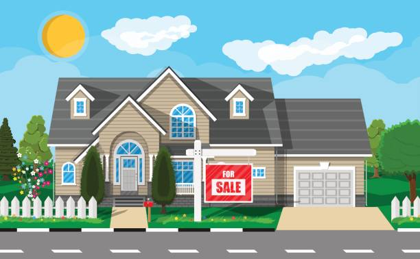 ilustrações de stock, clip art, desenhos animados e ícones de private suburban house. real estate - driveway, no people