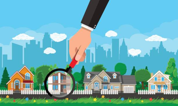 Private suburban house. Real estate Hand with magnifying glass selects house. Village, flowers, trees, road, sky and clouds. Real estate, sale and rent house. Vector illustration in flat style driveway stock illustrations