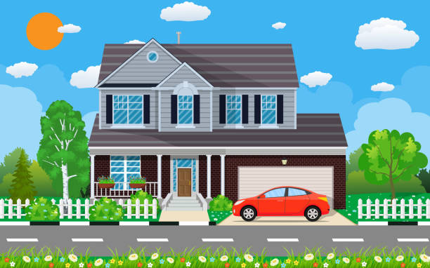 Private suburban house with car, Private suburban house with car, trees, road, sky and clouds. Vector illustration in flat style driveway stock illustrations