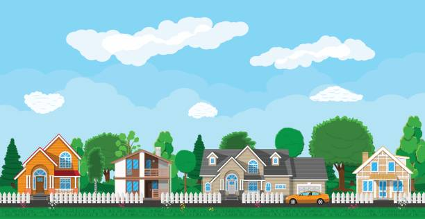 private suburban houses with car - suburbs stock illustrations