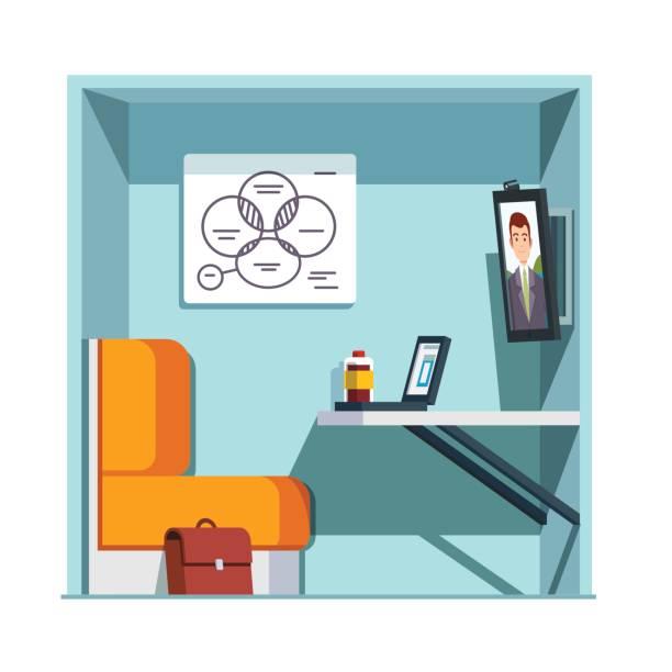 Privado video cabina de la sala con monitor - ilustración de arte vectorial