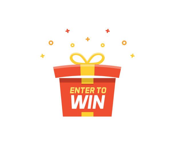賞品ボックスの開閉と花火と紙吹雪で爆発。ベクトルイラストを獲得するために入力してください - 誕生日の贈り物点のイラスト素材/クリップアート素材/マンガ素材/アイコン素材
