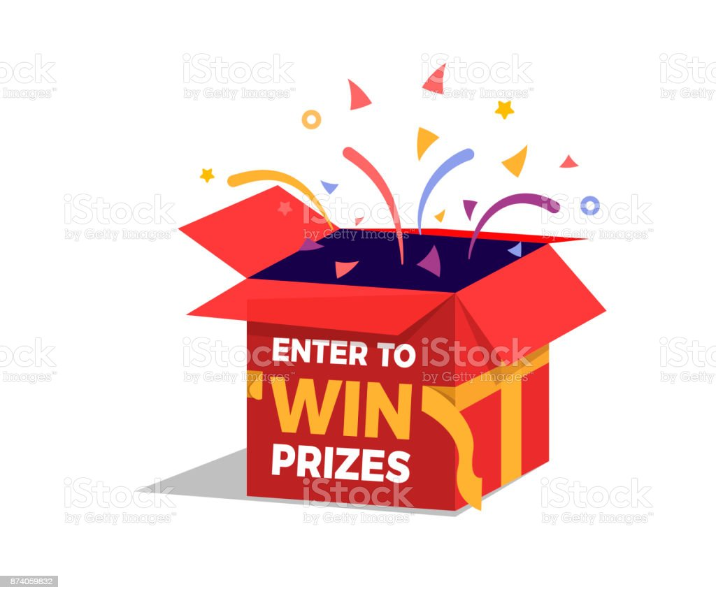 Prize box opening and exploding with fireworks and confetti. Enter to win prizes design. Vector illustration vector art illustration