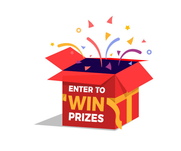 ilustrações de stock, clip art, desenhos animados e ícones de prize box opening and exploding with fireworks and confetti. enter to win prizes design. vector illustration - surpresa