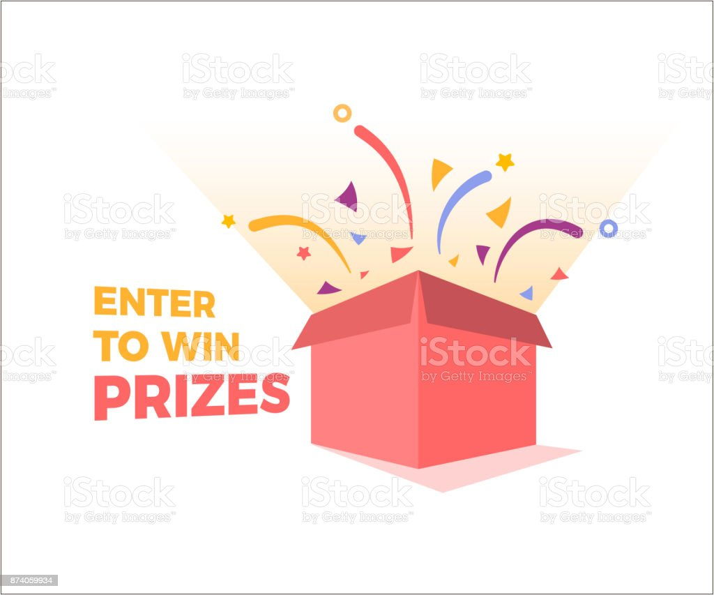 Prize box opening and exploding with fireworks and confetti. Enter to win prizes design. Vector illustration - Illustration .  sc 1 st  iStock & Prize Box Opening And Exploding With Fireworks And Confetti Enter To ...