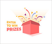 Prize box opening and exploding with fireworks and confetti. Enter to win prizes design. Vector illustration