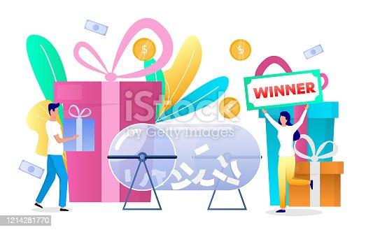 istock Prize draw winner concept vector flat style design illustration 1214281770