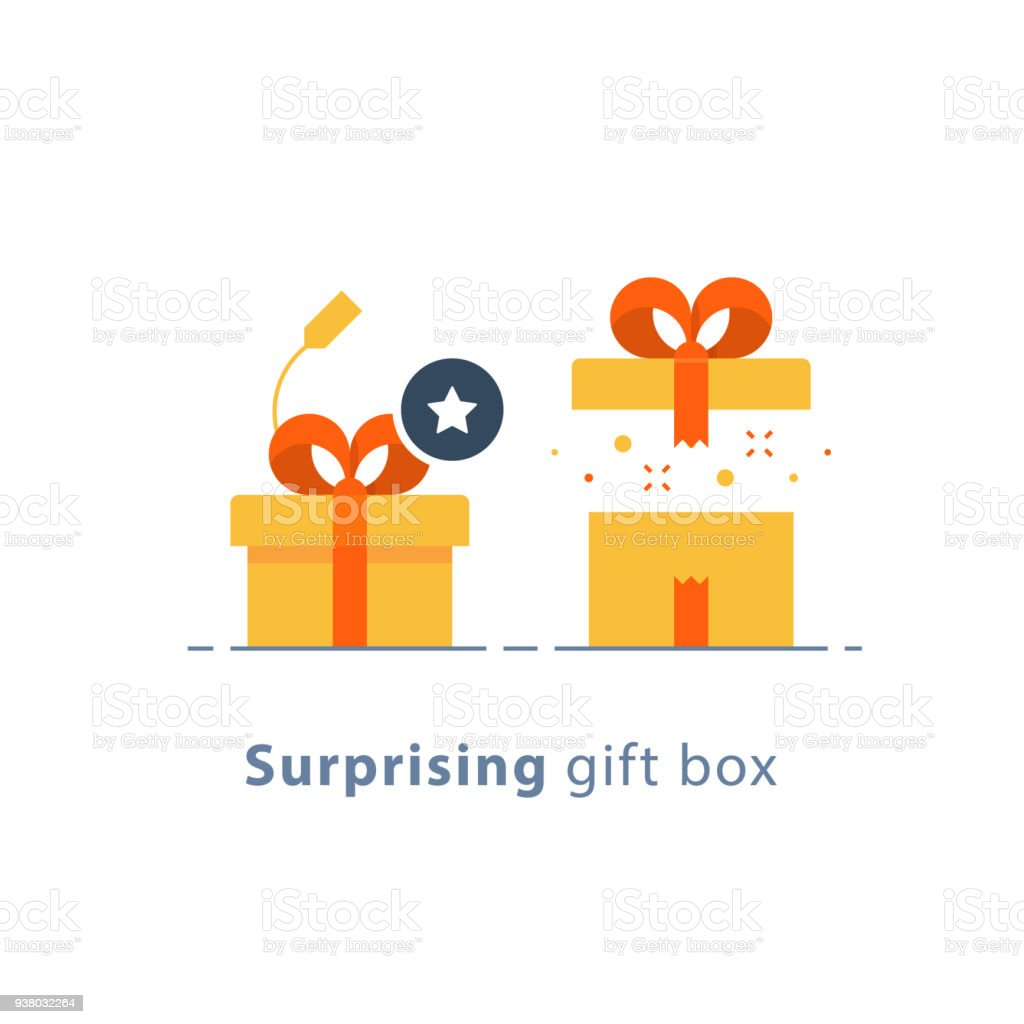 Prize Give Away Surprising Gift Creative Present Fun Experience Idea Concept