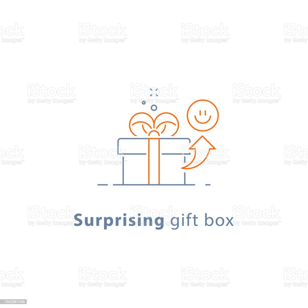 Prize give away, surprising gift, emotional present, fun experience, gift idea concept, line icon vector art illustration