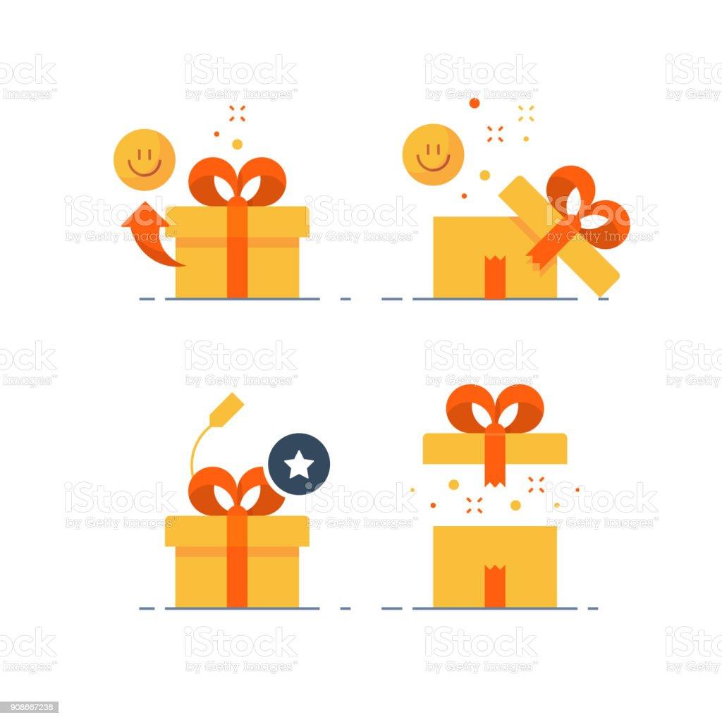 Preis zu verschenken, überraschende Geschenk, emotionale vorhanden, lustige Erfahrung, Geschenk-Idee-Konzept, flach-Symbol – Vektorgrafik